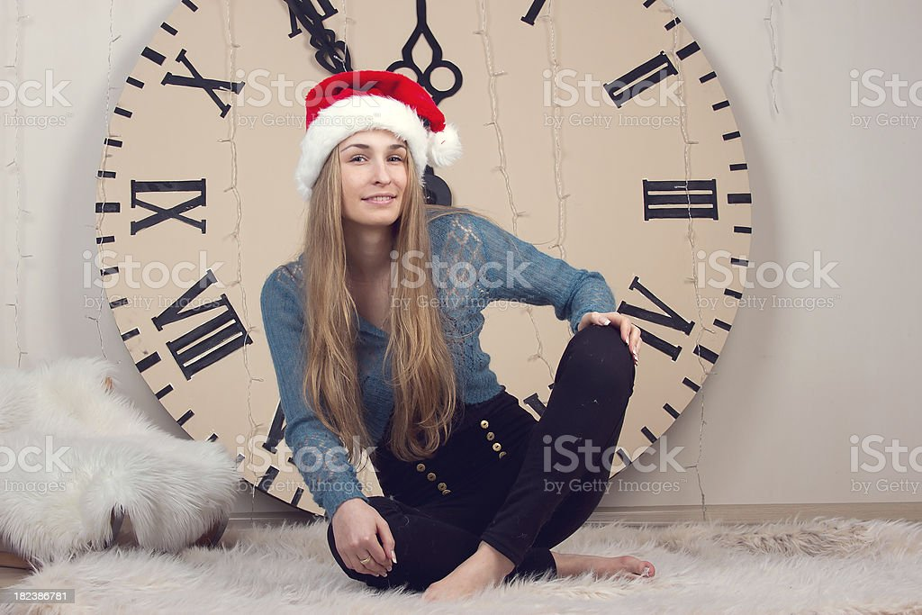 girl on clocks background lunch time royalty-free stock photo