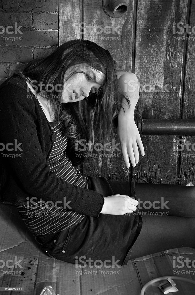 Girl on Drugs (B/W) stock photo