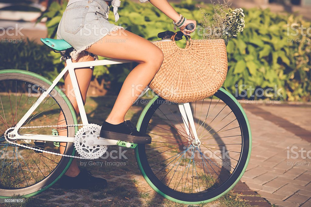 Girl on fixie stock photo