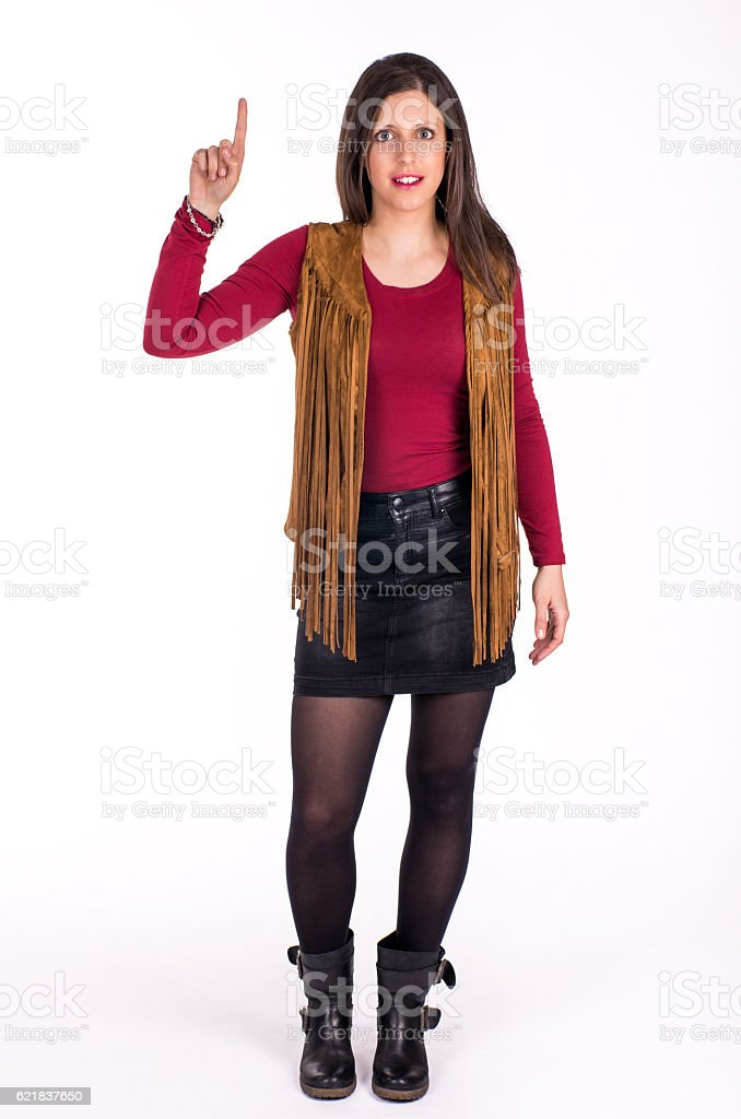 girl on foot poiting upward stock photo
