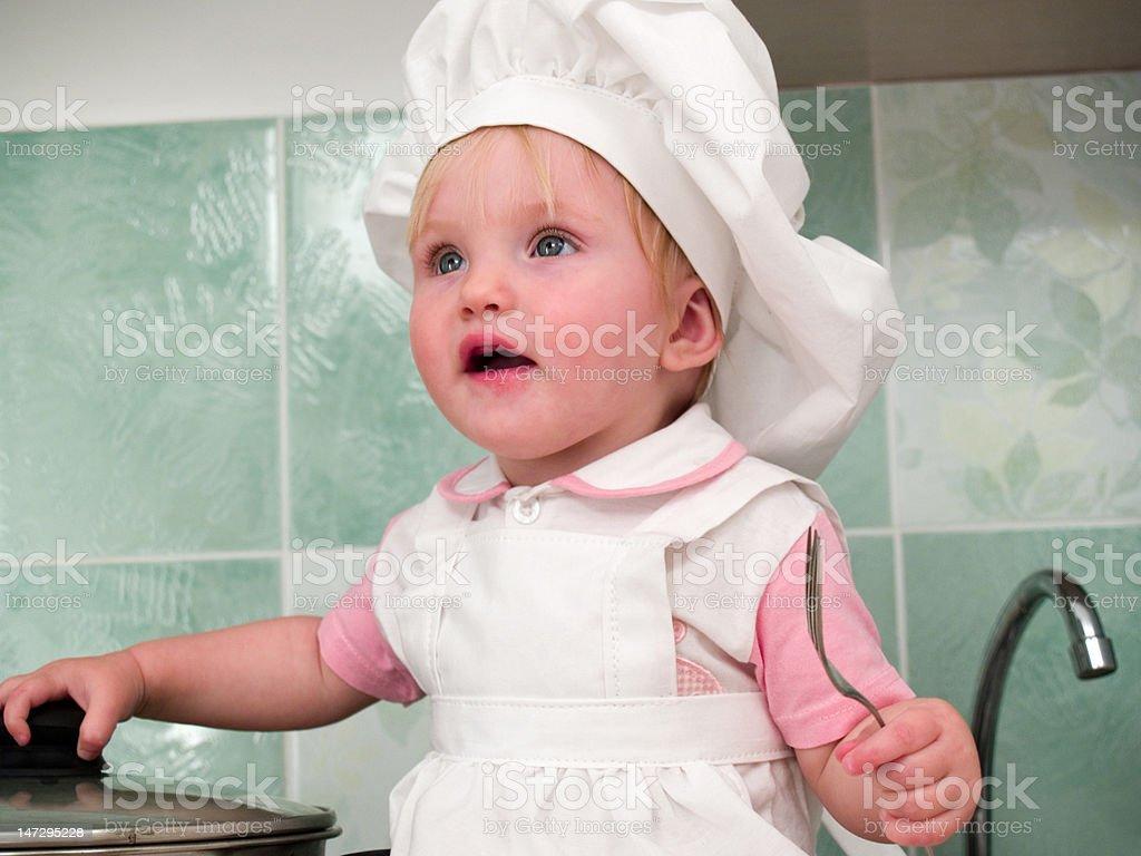 girl on kitchen royalty-free stock photo