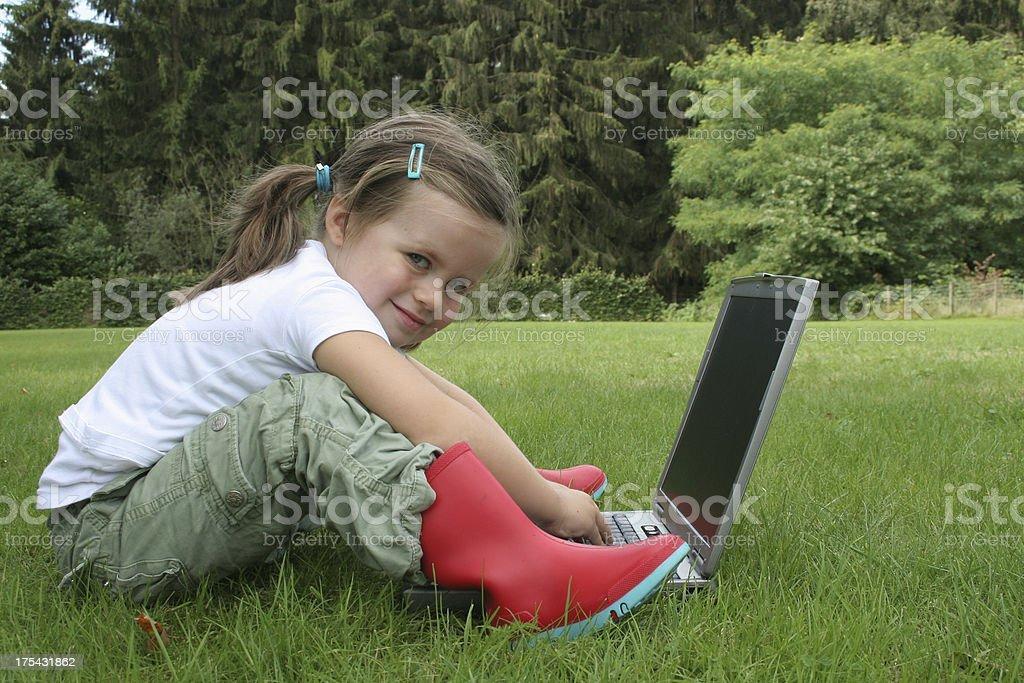 girl on laptop royalty-free stock photo