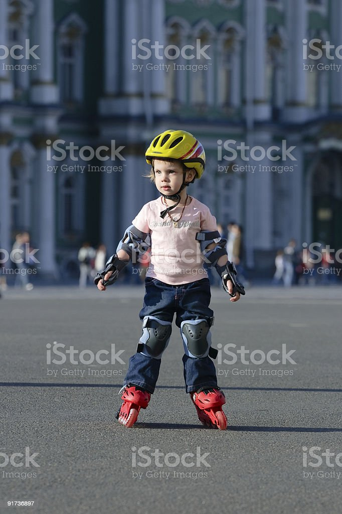 Girl on roller blades royalty-free stock photo