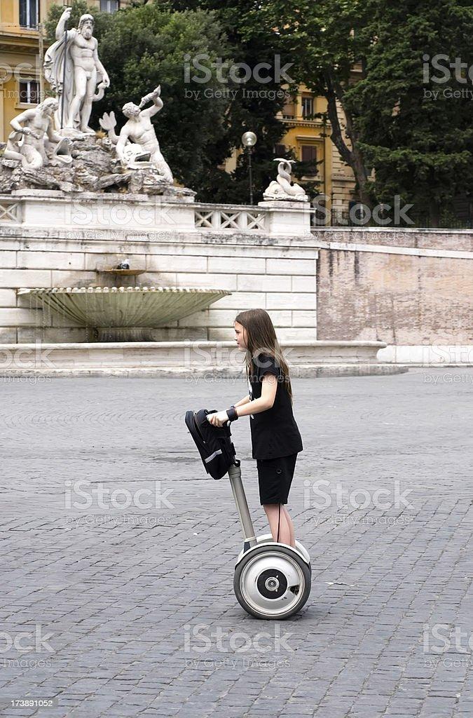 Girl on segway stock photo