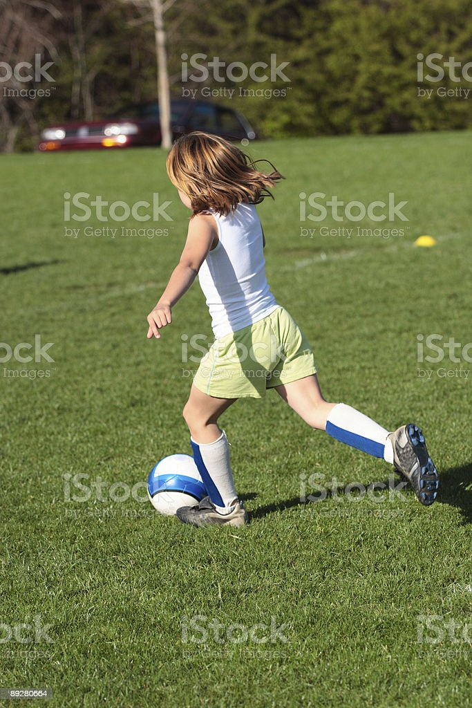 Girl on Soccer Field 24 royalty-free stock photo