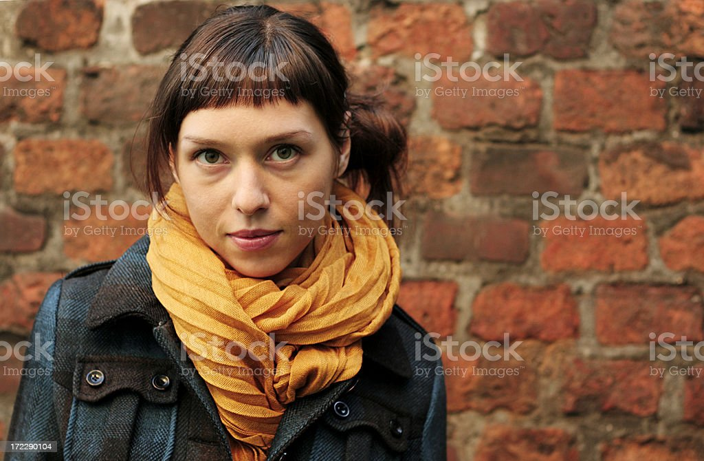 Girl on the autumnal walk royalty-free stock photo