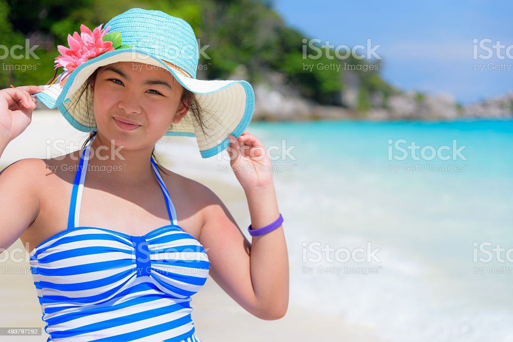 Girl on the beach at Thailand stock photo