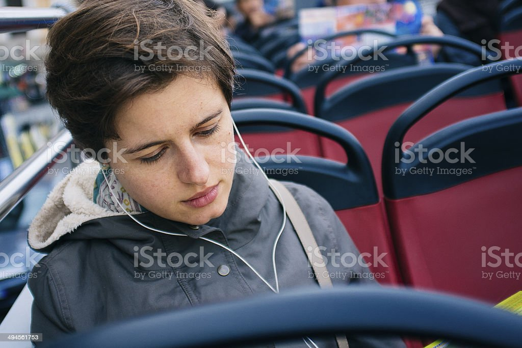 Girl on the bus stock photo