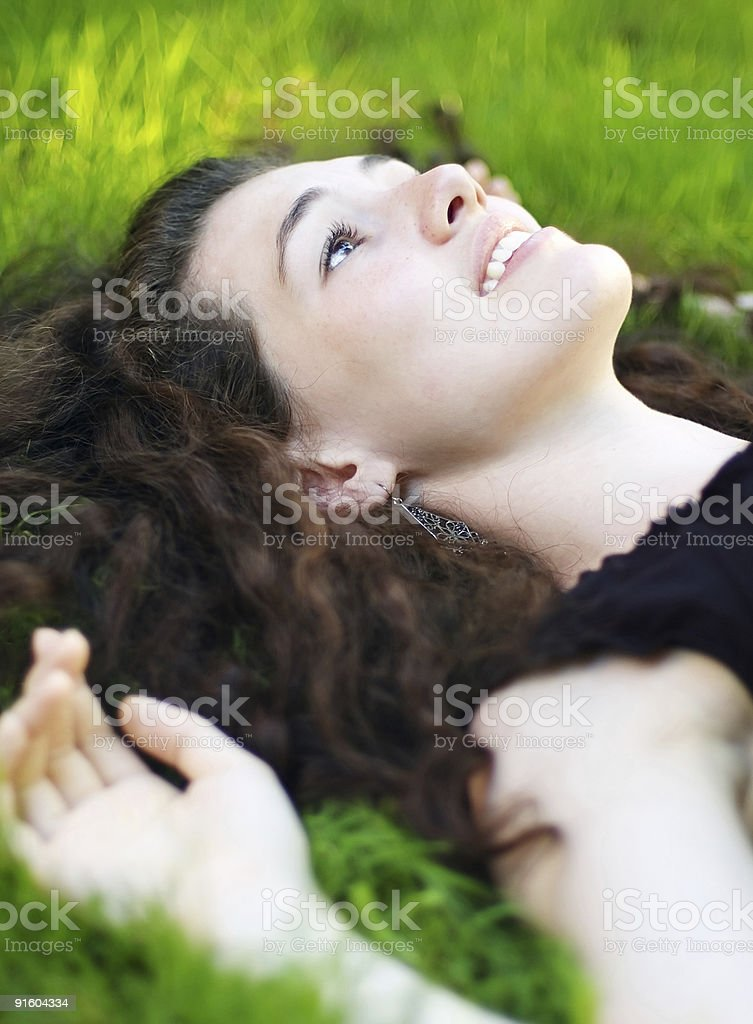 girl on the grass royalty-free stock photo