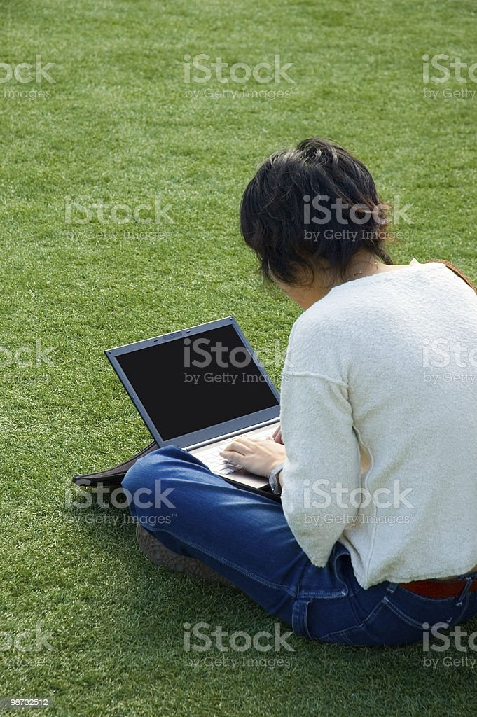 Girl on the grass with a laptop royalty-free stock photo