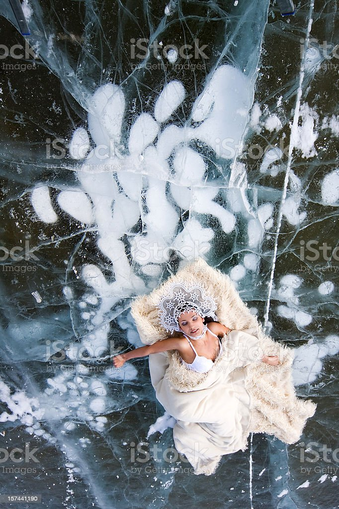 girl on the ice of Lake royalty-free stock photo