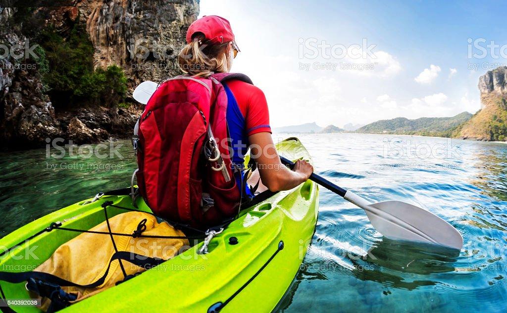 Girl on the kayak stock photo