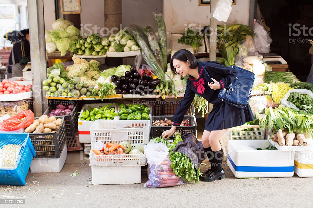 girl on the market stock photo