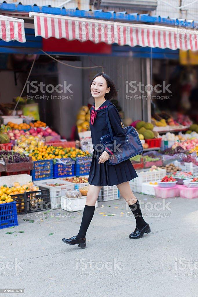 girl on the market stock photo