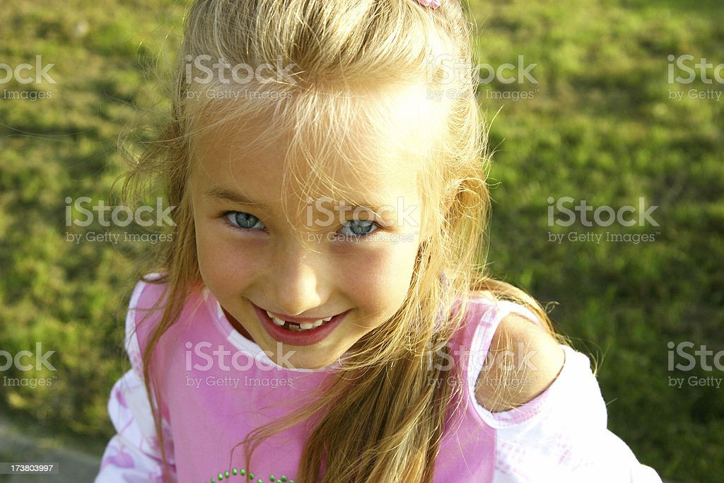 girl on the meadow stock photo