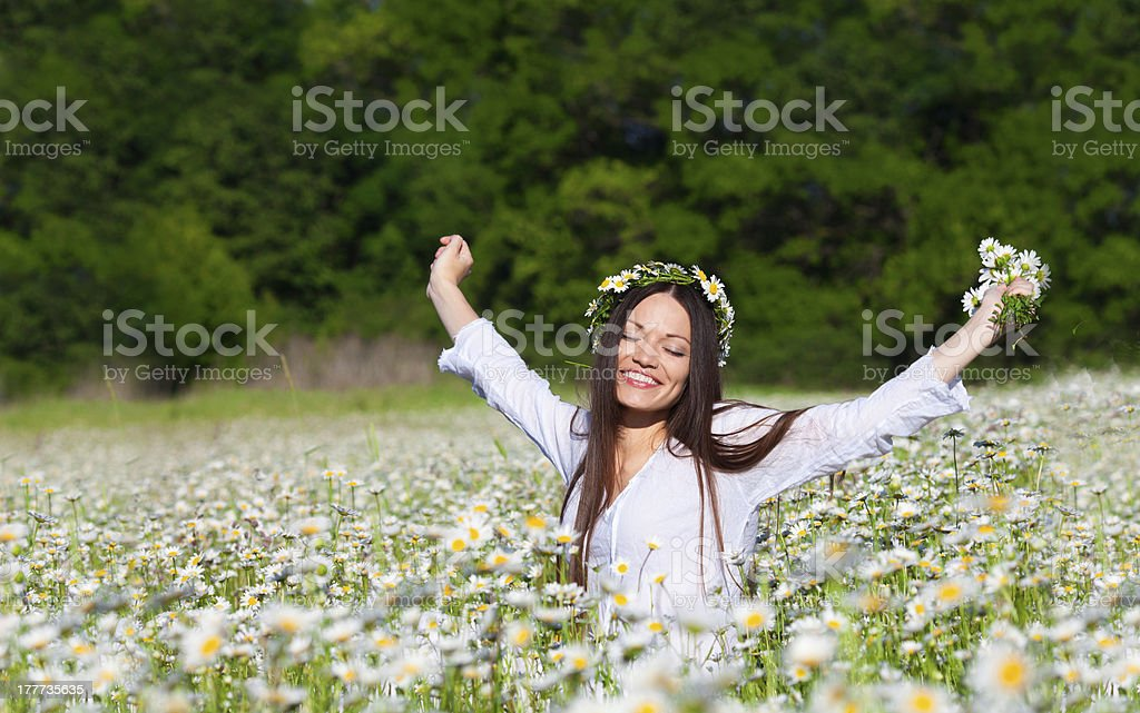 Girl on the meadow royalty-free stock photo
