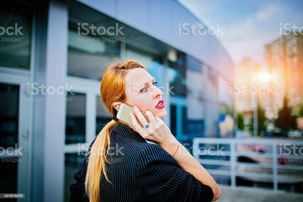 Girl on the mobile stock photo