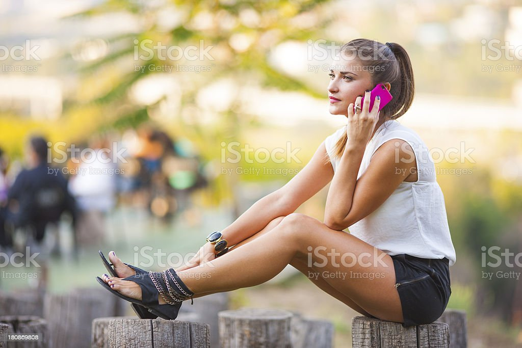 Girl on the phone stock photo
