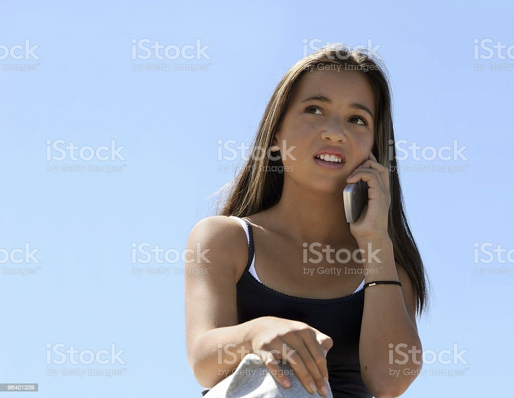 Girl on the phone royalty-free stock photo