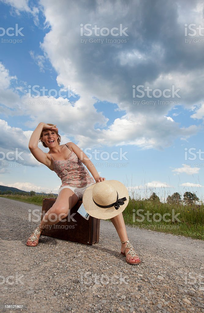 Girl on the road stock photo