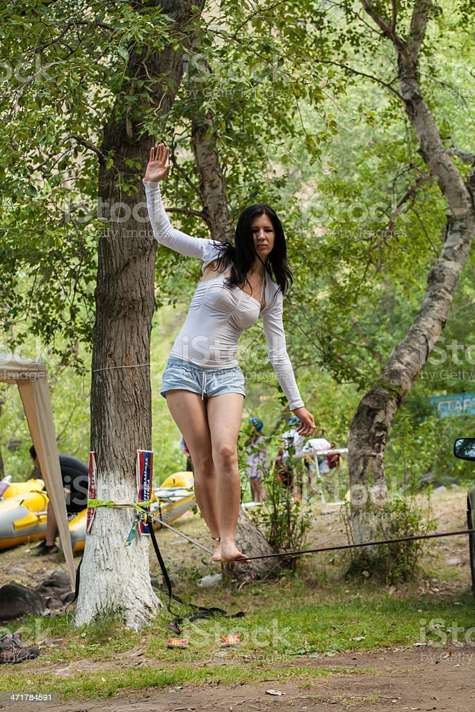 girl on the slackline royalty-free stock photo