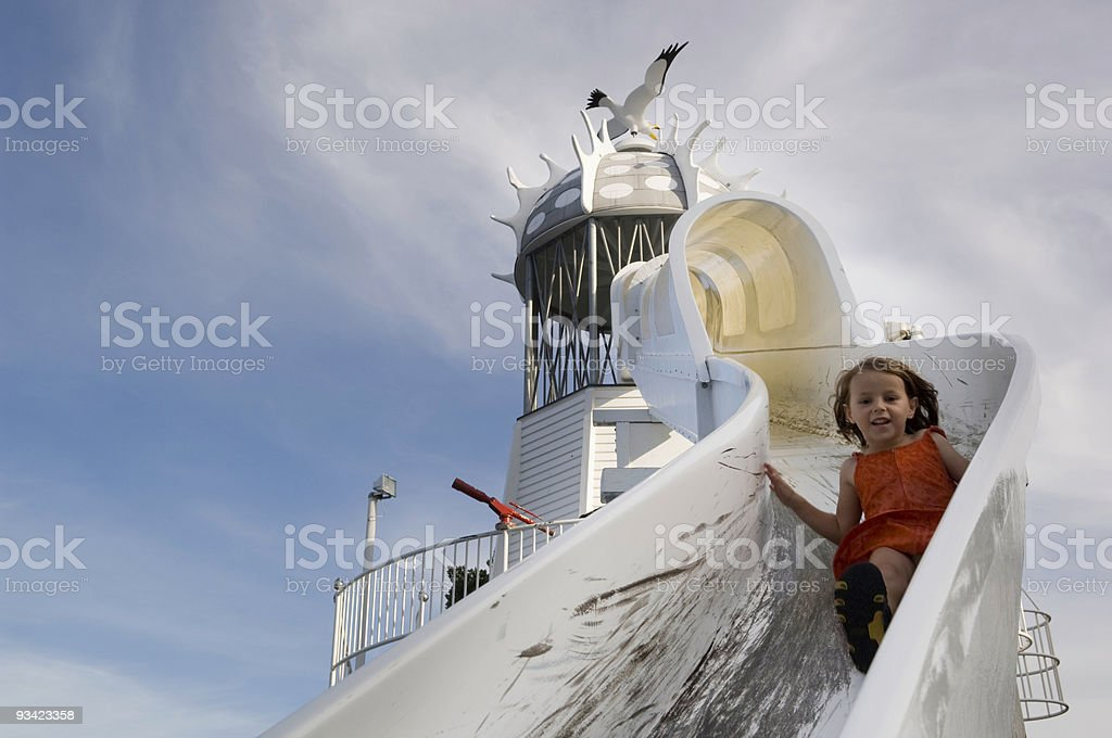 Girl on the Slide royalty-free stock photo