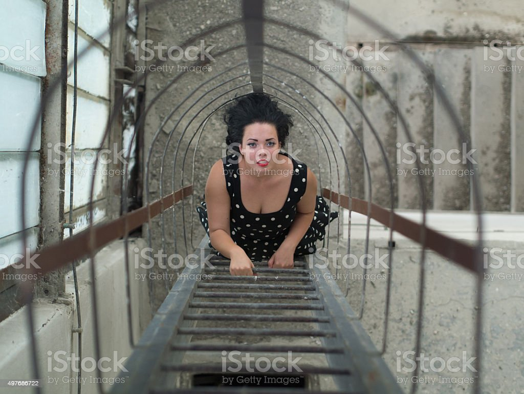 girl on the stairs stock photo