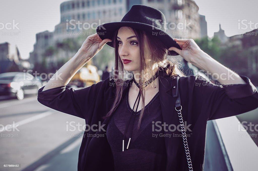 Girl on the street stock photo
