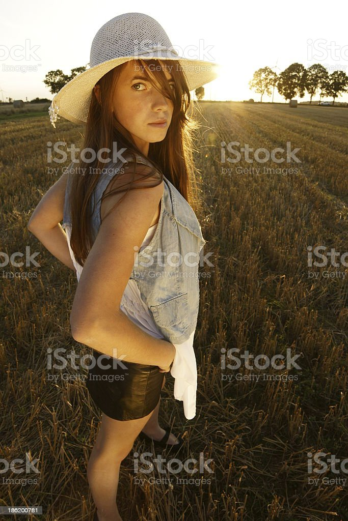 girl on the stubble royalty-free stock photo