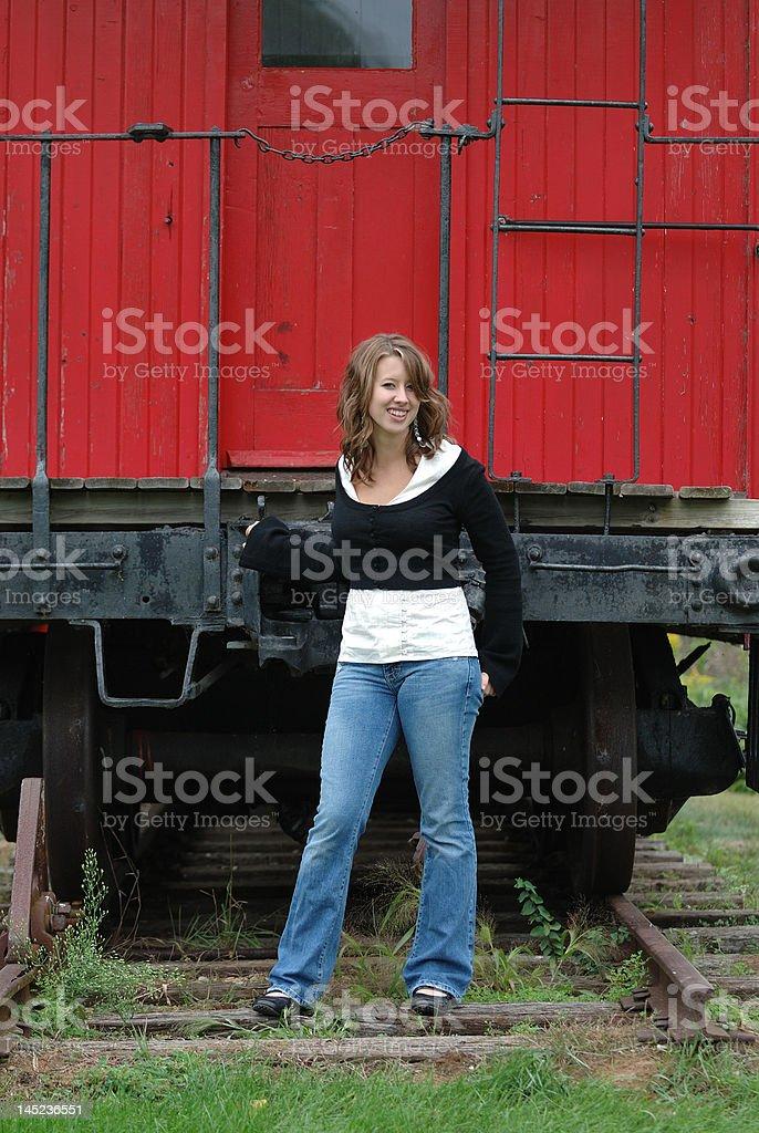 Girl On The Train Tracks royalty-free stock photo