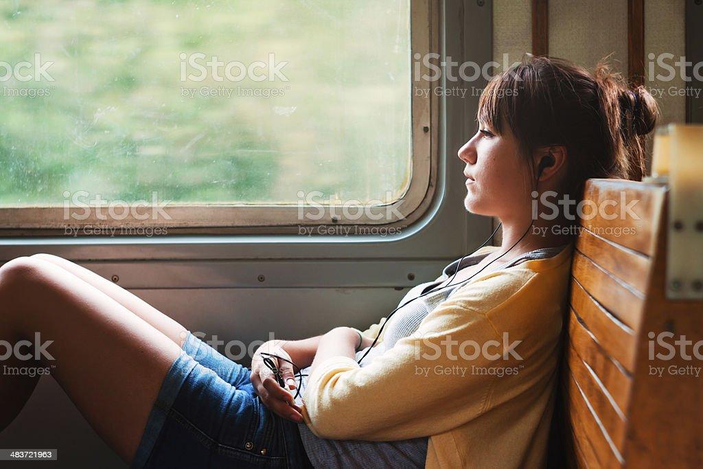 Girl on train stock photo