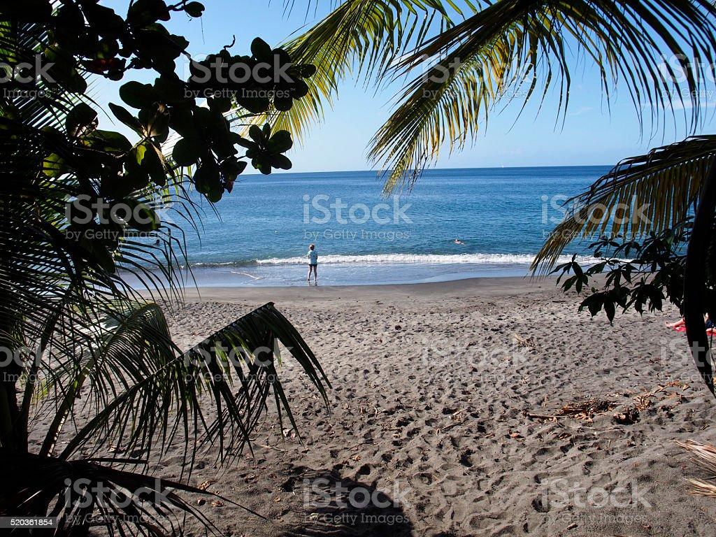 Girl on tropical beach stock photo