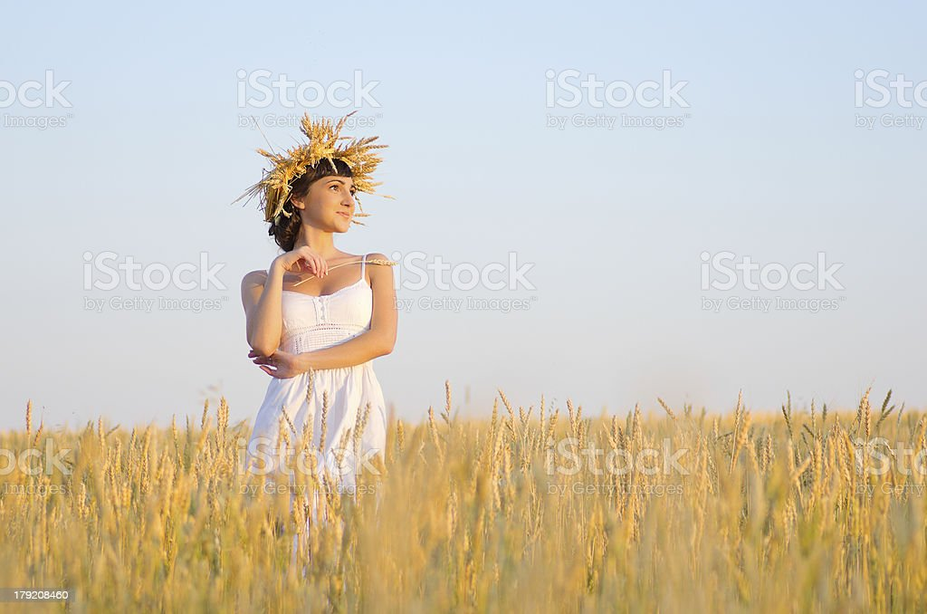 Girl on wheat field royalty-free stock photo