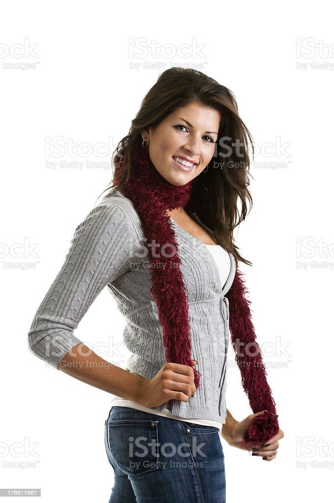 Girl on white background stock photo