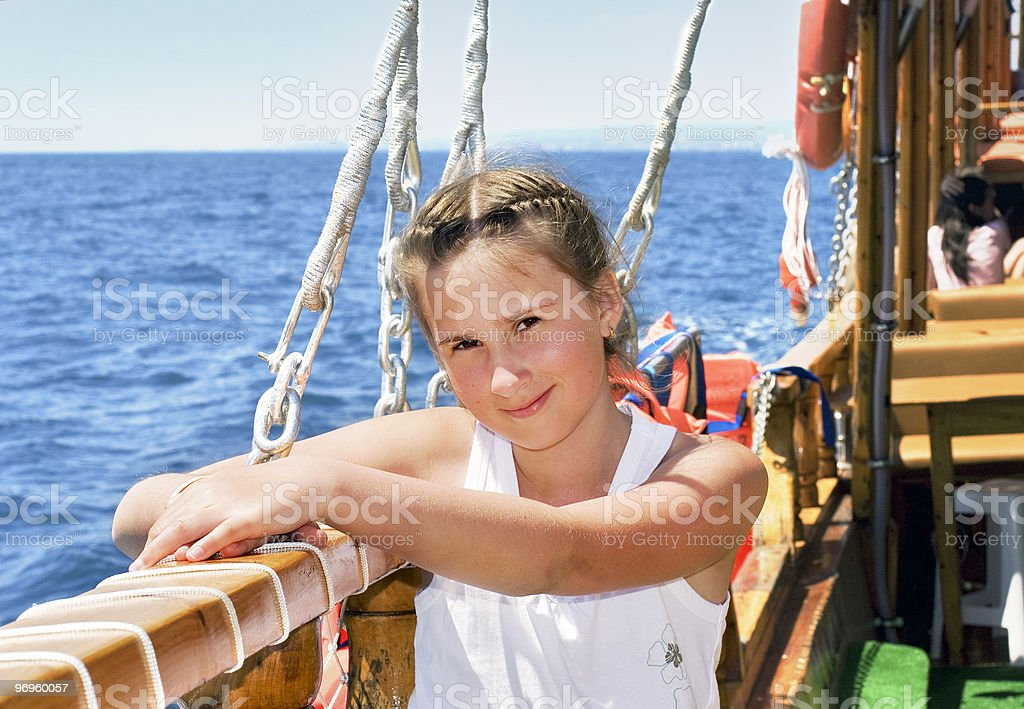 girl on yacht royalty-free stock photo