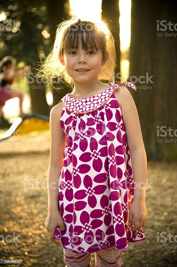 Girl Outdoors in Evening Times royalty-free stock photo