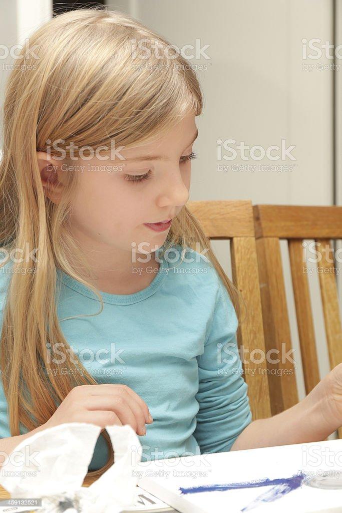 Girl painting stock photo