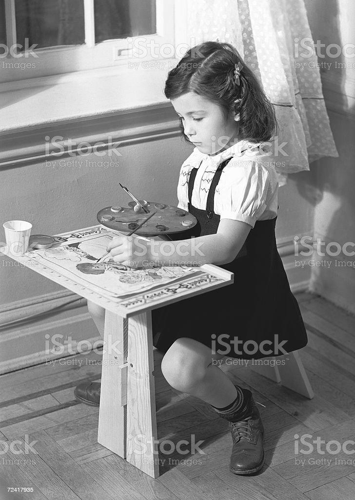 Girl (6-7) painting, (B&W) royalty-free stock photo
