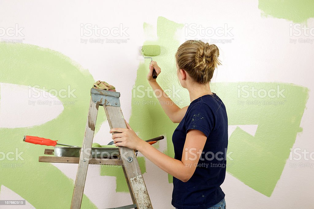 Girl Painting Room Green royalty-free stock photo