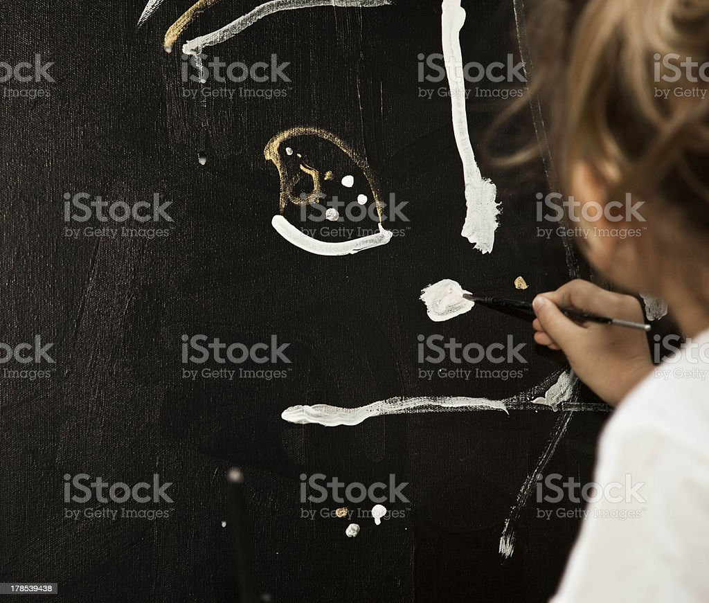Girl paints a picture royalty-free stock photo