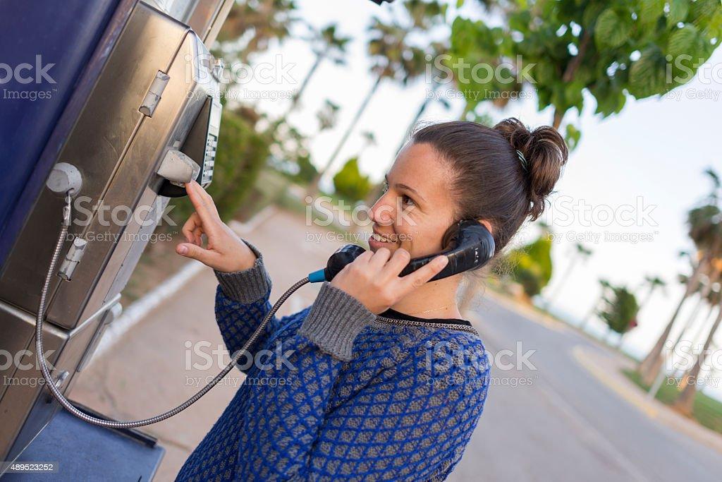 Girl phoning. stock photo