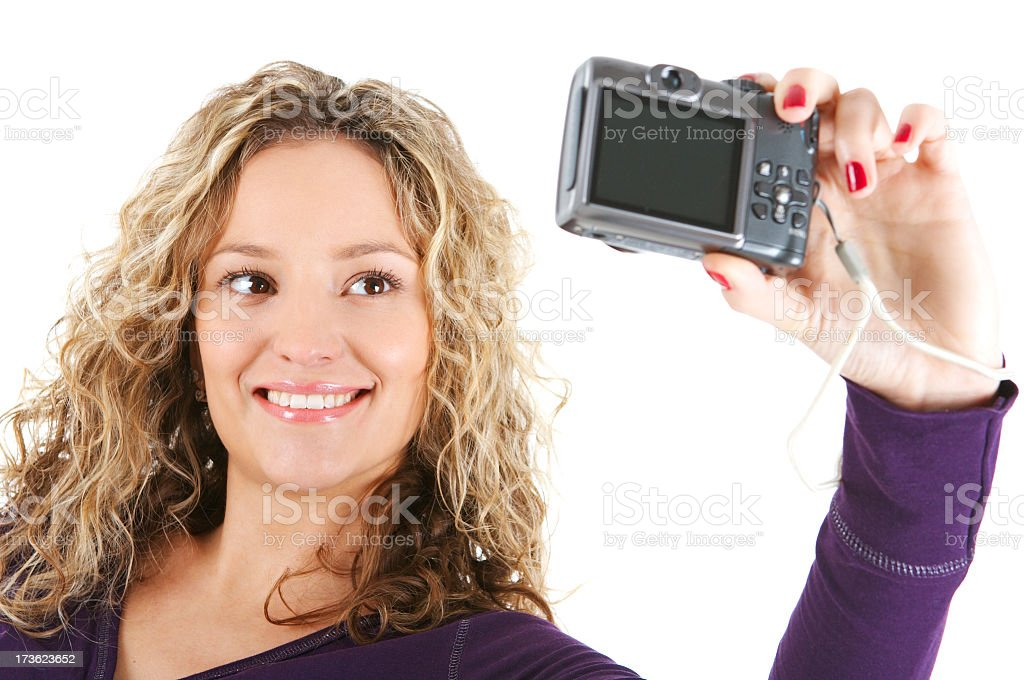 Girl photographing royalty-free stock photo
