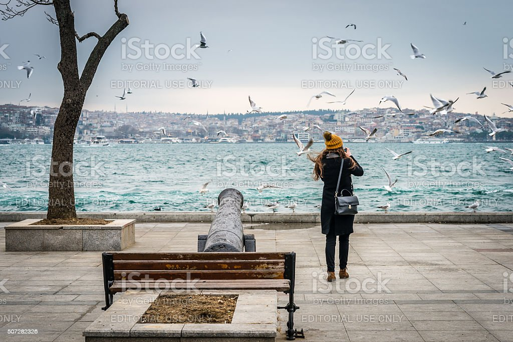 Girl photographing seagulls in Istanbul, Turkey stock photo