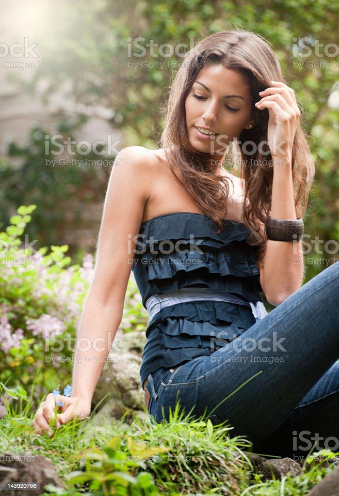 Girl picking a Flower (XXXL) royalty-free stock photo