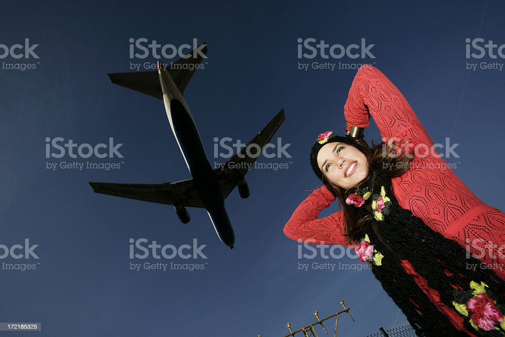 Girl & Plane royalty-free stock photo
