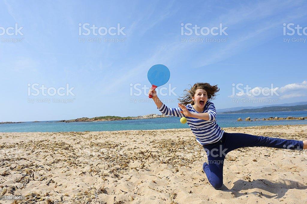 Girl Playing Beach Ball royalty-free stock photo