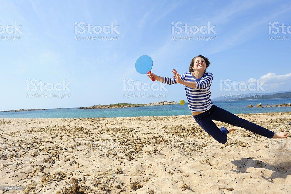 Girl Playing Beach Ball stock photo