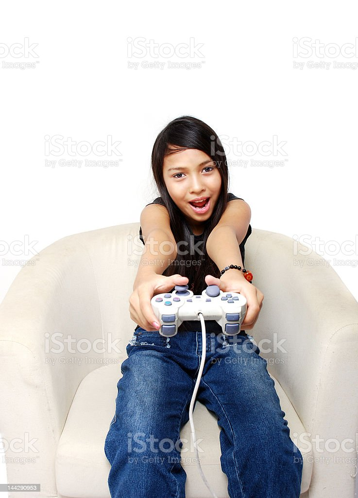 Girl playing game royalty-free stock photo