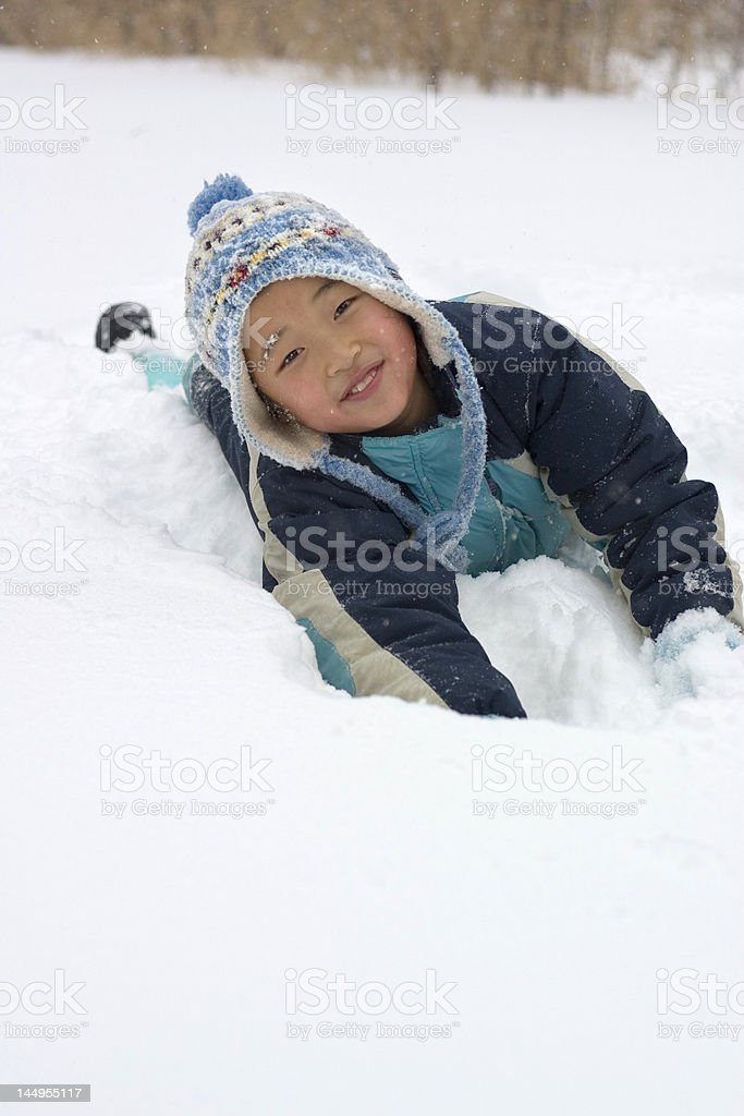 girl playing in snow royalty-free stock photo