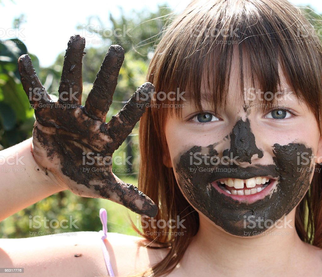 Girl playing outdoors royalty-free stock photo